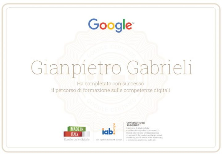 Eccellenza in digitale Google